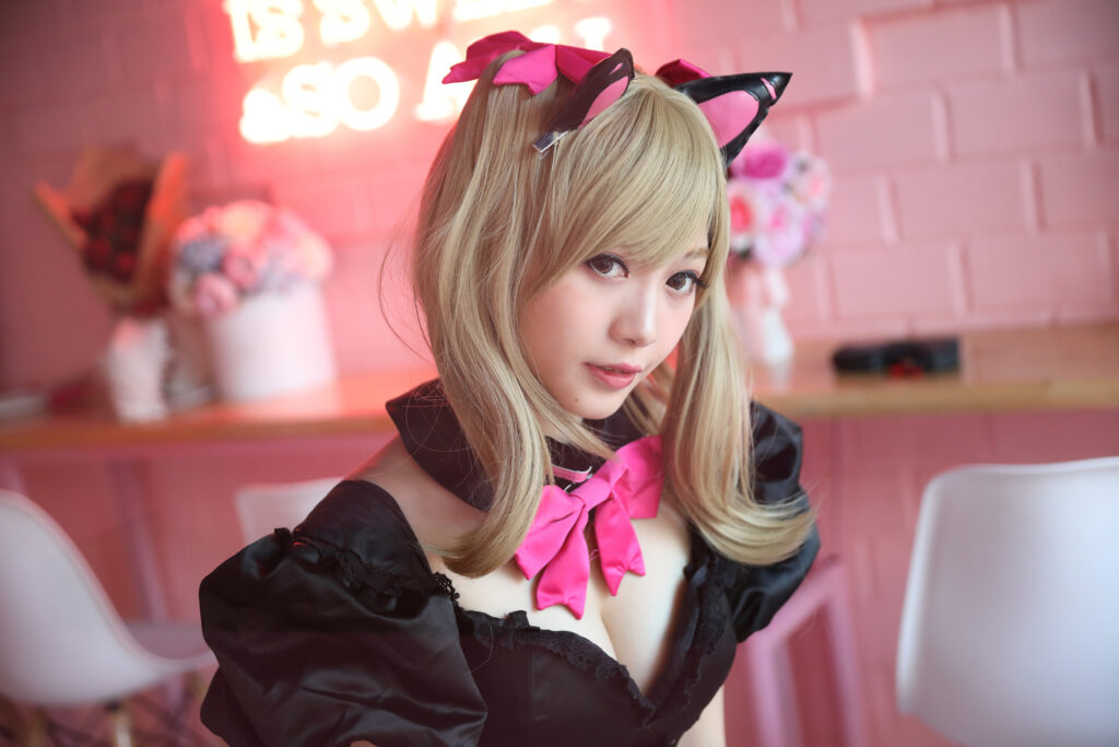 Japan anime cosplay , portrait of girl cosplay in pink room background